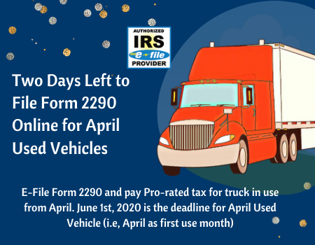 File IRS 2290 Online for April Used Vehicles